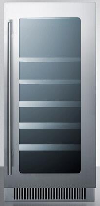 "Summit CL15W 15"" Freestanding Wine Cooler with Low-e Glass Door, Reversible Door, Temperature Alarm, and Digital Thermostat, in Stainless Steel"