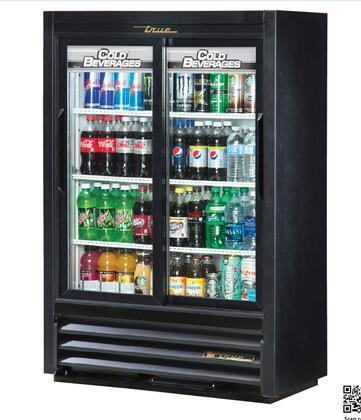 True GDM-33SSL Refrigerator Merchandiser with 11 Cu. Ft Capacity, Hydrocarbon Refrigerant, LED Lighting, and Thermal Insulated Glass Sliding-Doors in Black