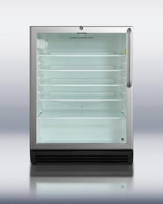 """Summit SCR600LOSX 24"""" 5.5 cu.ft. Capacity Compact Refrigerator, Automatic Defrost, Adjustable Shelves, Adjustable Thermostat, Glass Door: Stainless Steel, X Hinge Side"""