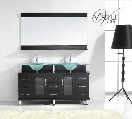 "Virtu USA Vincente Rocco 61"" MD-61-x-ES Double Sink Bathroom Vanity with x Basin Countertop, Eco-friendly Faucets, 2 Doors, 9 Drawers and Brushed Nickel Hardware, in Espresso Finish"