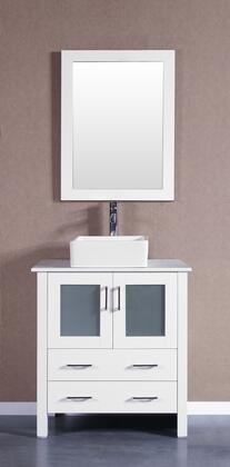 Bosconi Bosconi AW130CBEPSX Single Vanity with Soft Closing Doors , Drawers,Phoenix Stone Top, Faucet, Mirror in White and White Vessel Square Ceramic Sink