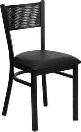 "Flash Furniture HERCULES Series XU-DG-60115-GRD-XXV-GG 19.75"" Heavy Duty Grid Back Metal Restaurant Chair with Vinyl Seat, Commercial Design, 18 Gauge Steel Frame, and Plastic Floor Glides"