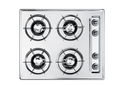 Summit ZTL03  Gas Open Burner Style Cooktop, in Brushed Chrome