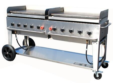 """Crown Verity CV-MG-72XX 81"""" Wide Mobile Griddle with 159,000 BTU/H, 10 Burners, 70"""" Cooking Surface, Pro Griddle Plates, Splash Guard and Removable Grease Tray in Stainless Steel"""