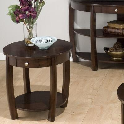 Jofran 4363 Riverside Series Contemporary Round 1 Drawers End Table