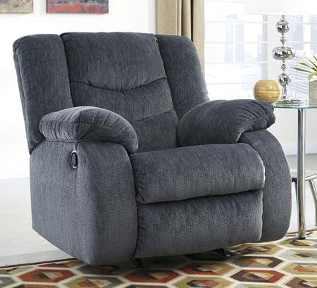 Signature Design by Ashley Garek 9200REC Rocker Recliner with Thick Padded Arms, Stylishly Divided Bustle Back Cushion and Metal Drop-in Unitized Seat Box in