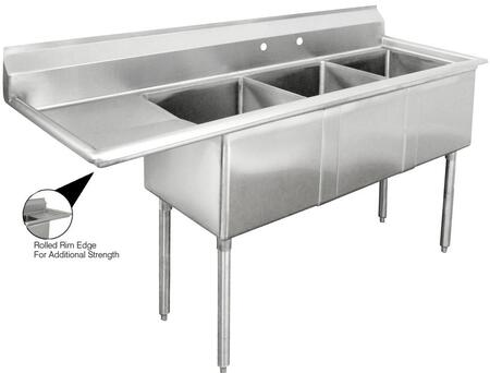 "Advance Tabco FE-3-1620 Lite Series Three-Compartment Fabricated Sink with 16"" x 20"" Bowl and Backsplash in Stainless Steel"
