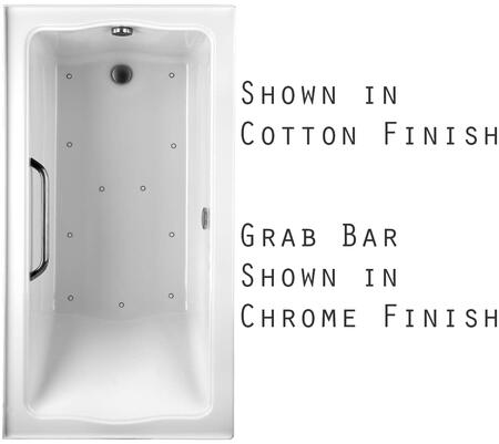 Toto ABR782L12YBNX Clayton Series Drop-In Airbath Tub with Acryclic Construction, Slip-Resistant Surface, and Brushed Nickel Grab Bar, Sedona Beige Finish