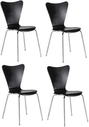 EdgeMod EM183BLKX4 Elgin Series Modern Metal Frame Dining Room Chair