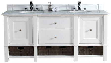 "James Martin Madison Collection 800-V72-CWH- 72"" Cottage White Double Vanity with Two Soft Close Doors, Two Drawers, Bottom Shelf, Satin Nickel Hardware and"