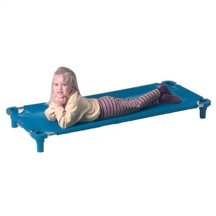 """Mahar 500T 52"""" Blue Fabric Unassembled Cot With Color Leg (Standard Size)"""
