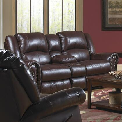 """Catnapper Livingston Collection 80"""" Console Loveseat with Cup Holders, Bombay Arms, Top Stitch Sewing and Top Grain Leather Touch/Match Upholstery"""