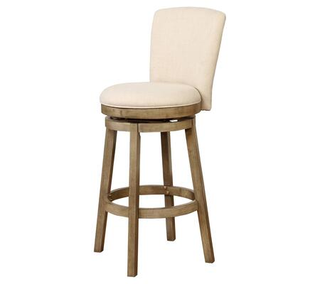Powell Davis Collection 15B8193 Stool with Stretcher, Circular Seat, Natural Linen-look Fabric Upholstery and Wood Frame in White