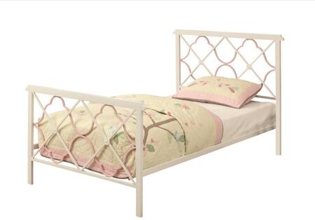 Coaster Juliette 300344 Panel Bed with Pink Quatrefoil Motifs, Criss-Cross Pattern and 2-Inch Metal Tubing Construction in White and Pink Color