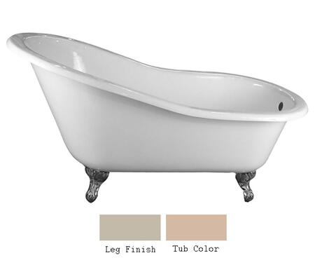 """Barclay CTSN57 57"""" Grayson Cast Iron Slipper Tub with Overflow and No Faucet Holes in"""