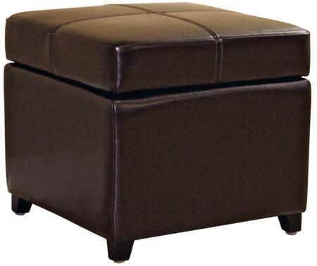 Wholesale Interiors 0380001DARKBROWN Wholesale Interiors Series Contemporary Leather Ottoman