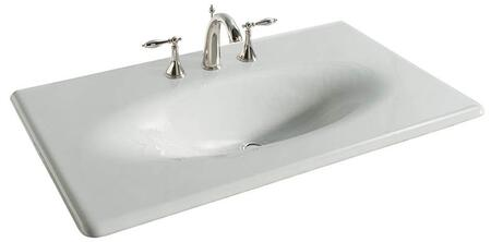 """Kohler K-3051-8- 37"""" Cast Iron One Piece Surface and Basin Bathroom Sink with Three 8"""" Center Faucet Holes from the Impressions Collection:"""