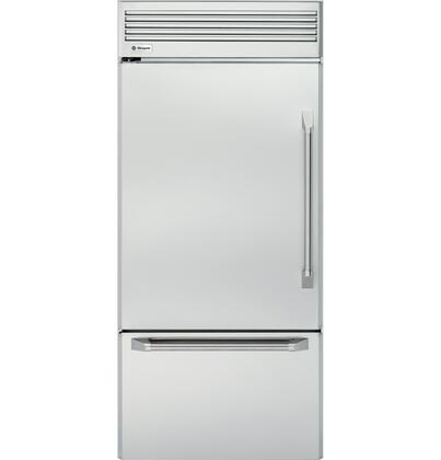 """GE Monogram ZICP360NX ENERGY STAR Rated 20.6 cu. ft. 36"""" Professional Built-In Bottom-Freezer Refrigerator with (X) Hinges, Multi-Shelf Air Management Tower, Factory-Installed Icemaker in Stainless Steel"""