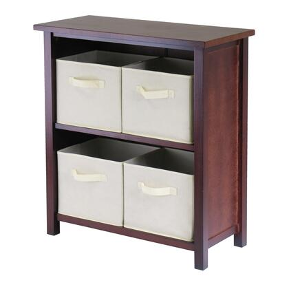 Winsome 94X71 Verona 2-Section M Storage Shelf in Walnut with 4 Foldable Fabric Baskets