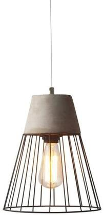 """EdgeMod Burgess Collection 10"""" x 13"""" Pendant Lamp with Black Cord, Fully Dimmable, LED Light Compatible and Concrete Construction in"""