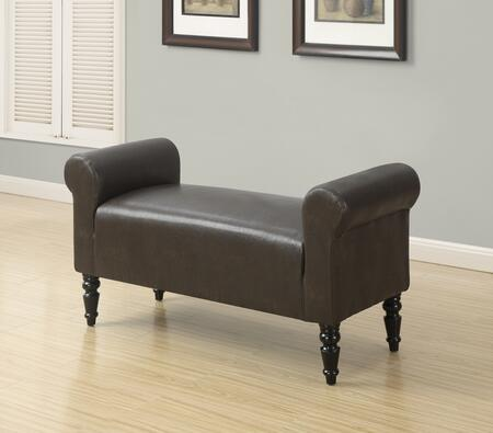 """Monarch I 891X 44"""" Bench with Turned Post Legs, Curved Arms and Upholstered"""