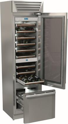 "Fhiaba FM24BWR 24"" TotalNoFrost Built-in Wine Cellar with 54 Bottle Capacity, Anti-UV Glass Door, LED Lighting, Three Compartments, 9 Wooden Shelves and a Bottom Drawer in Stainless Steel"