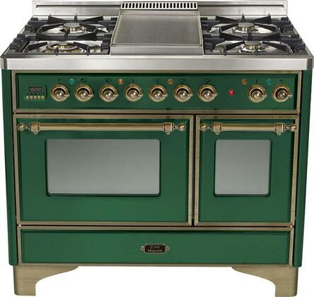 "Ilve UMD100FMPVSY 40"" Dual Fuel Freestanding Range with Sealed Burner Cooktop, 2.44 cu. ft. Primary Oven Capacity, in Emerald Green"