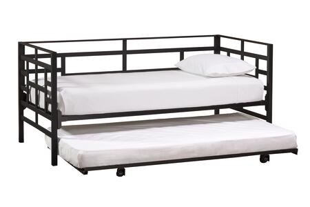 Hillsdale Furniture 1876D Stanford Twin Size Daybed with Suspension Deck, Blocked Pattern and Metal Construction in Textured Black Color