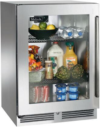 """Perlick HP24RS33xC 24"""" Signature Series Outdoor Compact Refrigerator with 5.2 cu. ft. Capacity, RAPIDcool System, 1000 BTU Commercial Grade Compressor and Classic Handle, in Stainless Steel with Glass Door and"""