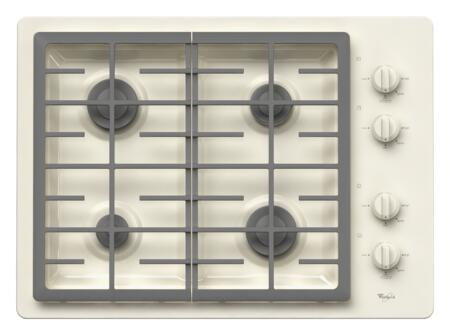 "Whirlpool W5CG3024X 30"" Sealed Burner Gas Cooktop With 4 Sealed Burners, AccuSimmer Burner, Continuous Grates, Knob Controls, ADA Compliant, Electronic Ignition, In"