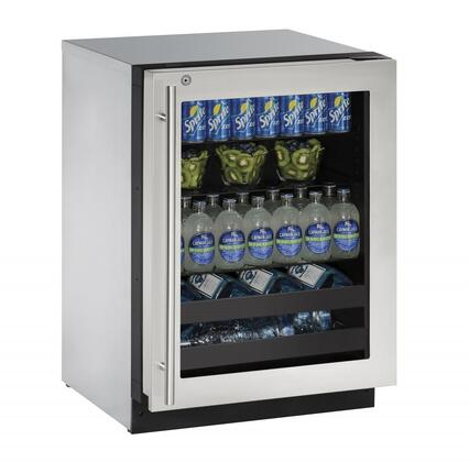 """U-Line U-2224BEVSx 24"""" 2000 Series Beverage Center with 4.9 cu. ft. Capacity, 2 Wine Racks, 2 Glass Shelves, Convection Cooling System, Digital Touchpad Control, and UV-Protected Glass Door, in"""