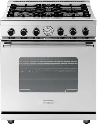 """Superiore RN301GCS 30"""" NEXT Series Freestanding Gas Range with Classic Oven Door, 4 Sealed Burners, Convection Oven, and 3 Oven Racks, in Stainless Steel"""