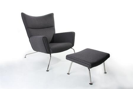Fine Mod Imports FMI1202GRAY Wing Series Lounge 100% Wool Molded Fiber Glass Frame/Stainless Steel Base Frame Accent Chair