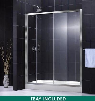 DreamLine DL-6002 Infinity Shower Door With Slip-Resistant Bottom, Integrated Tile Flange, Fiberglass Reinforcement, Raised Edge, Single Sliding Door Design &