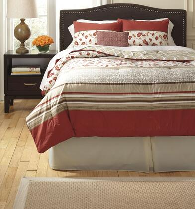 Signature Design by Ashley Azia Q436005 8 PC Size Top of Bed Set includes 1 Oversized Comforter, 1 Bed Skirt and 2 Standard Shams, 2 Euro Shams and 2 Decorative Accent Pillows with Geographic Pattern and Polyester Material in Wine Color
