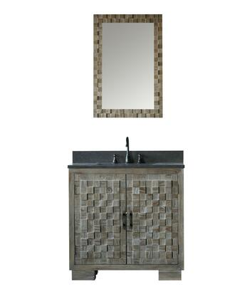 "Legion Furniture WN7636+ 36"" Solid Elm Sink Vanity with Mirror, Natural Moon Stone Top, Two Doors, One Drawer and Oil Rubbed Bronze Faucet in Brushed Natural"