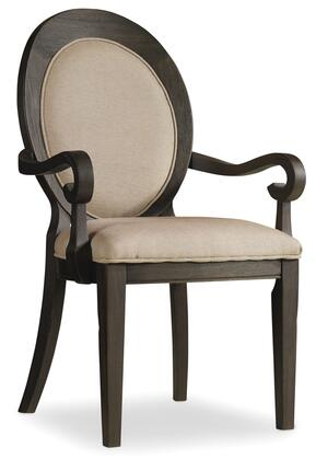 """Hooker Furniture Corsica Series 5280-754 41"""" Traditional-Style Dining Room Dark Oval Back Chair with Tapered Legs, Piped Stitching and Fabric Upholstery in Brown"""
