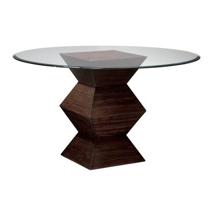Sterling Hohner Collection Accent Table with Clear Glass Top, Beveled Edge, Pedestal Accordion Base and Hardwood Construction in Striped Wood Finish