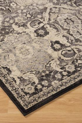 """Milo Italia Frances RG424744TM """" x """" Size Rug with Geometric Design, Machine-Woven, 9.5mm Pile Height, Spot Clean Only and Polypropylene Material in Black Color"""