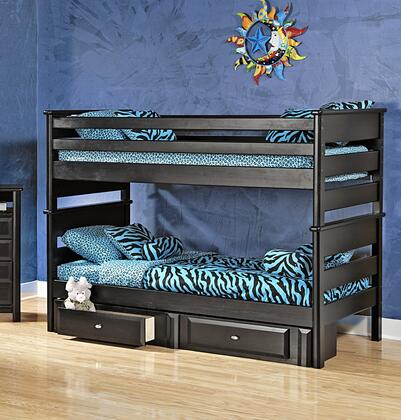 Chelsea Home Furniture 3534520-4521-X Twin Over Twin Bunk Bed with Rustic Style, and All Pine Wood Construction in Black Cherry