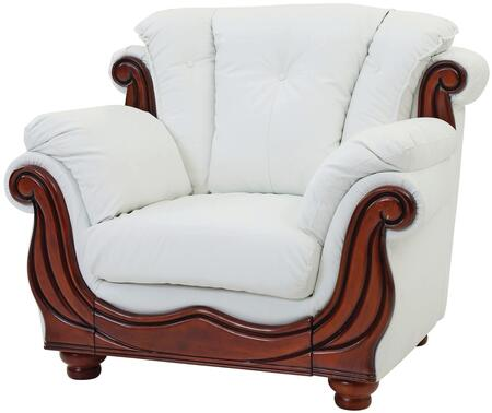 Glory Furniture G692C Faux Leather Armchair with Wood Frame in White