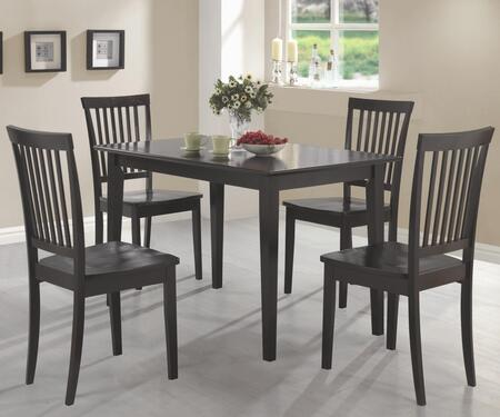 Coaster Oakdale 15015 5 PC Dining Room Set with 4 Side Chairs, Rectangular Table, Vertical Slat Chair Back, Flat Seats, Tropical Wood and Okume Veneer Material in