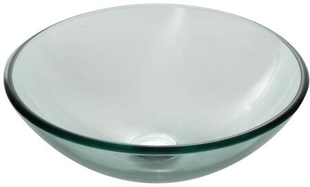 "Kraus GV101X Singletone Series 17"" Round Vessel Sink with 12-mm Temperd Clear Glass Construction, Easy-to-Clean Polished Surface, and Included Pop-Up Mounting Ring"