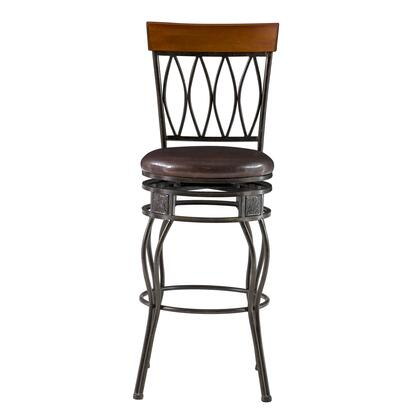 Linon 02563MTL01KDU Oval Back Series Commercial or Residential PVC Upholstered Bar Stool