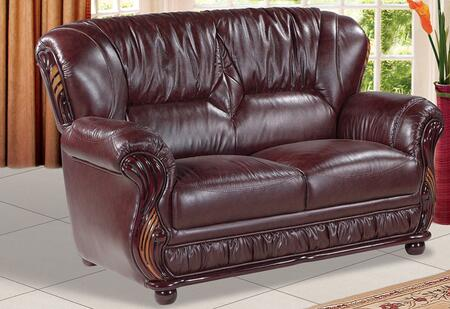 """Meridian Mina 639-L 65"""" Loveseat with Top Quality Genuine Bonded Leather Upholstery, Rich Mahogany Finish and Removable Backs in"""