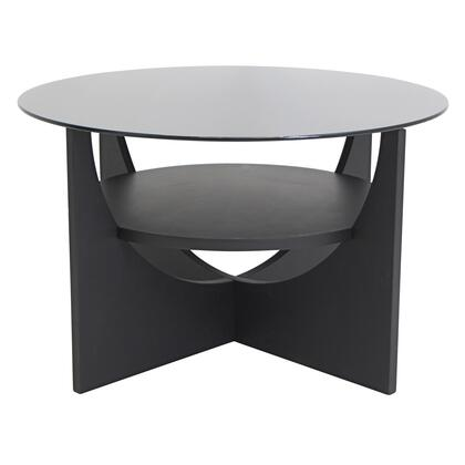 """LumiSource U Shaped TB-CTU 31"""" Coffee Table with Middle Shelf, Tempered Glass Top and U-Shaped Base in"""