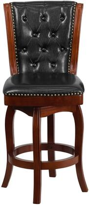 """Flash Furniture TA-2401XX-CHY-GG X"""" High Counter Height Stool with Black Leather Swivel Seat, Button Tufted Back and Nail Head Trimmed Seat and Back in"""