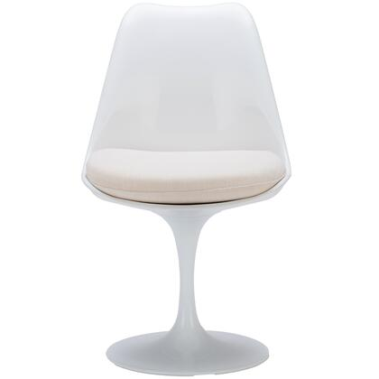 EdgeMod EM106WHI Daisy Series Modern Fabric Plastic Frame Dining Room Chair