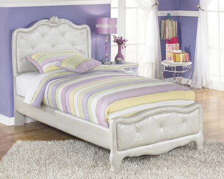 Signature Design by Ashley B182UPHOLSTEREDBED Zarollina Collection Upholstered Bed in Silver Pearl