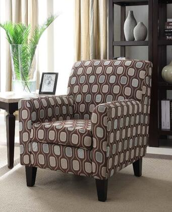 Armen Living LC2010FA Fiesta Club Chair with Espresso Wooden Legs and Medallion Designed Fabric Upholstery in